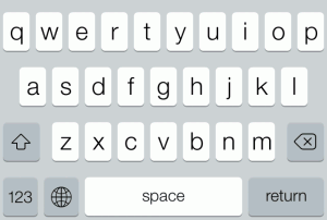 My proposed iOS keyboard in its standard form.