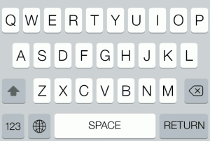Proposed iOS keyboard with shift key pressed.
